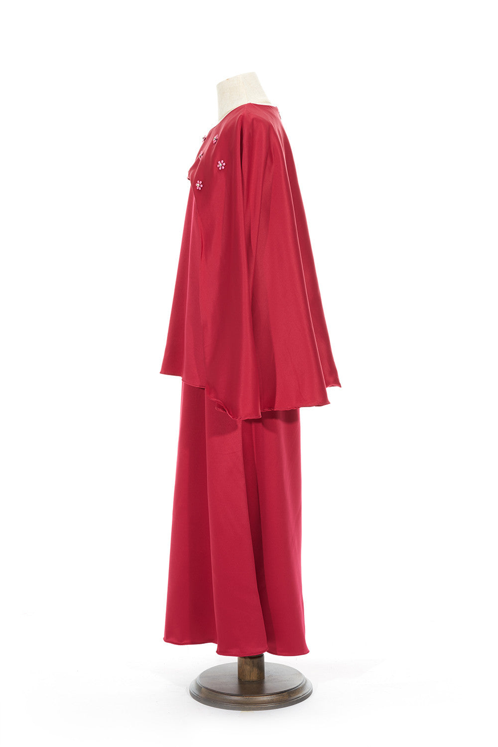 Petite Satin Cape Kurung in Red