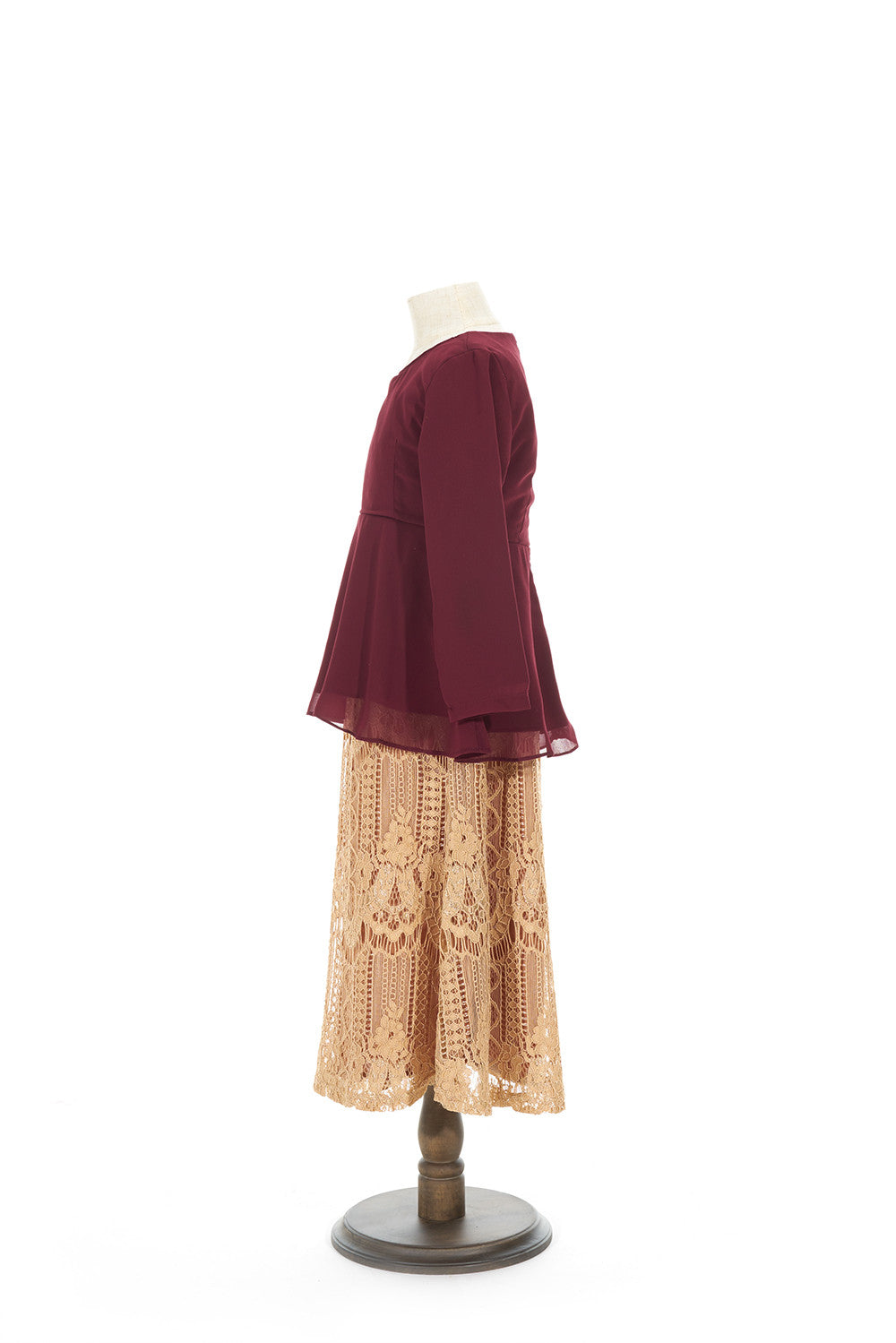 Petite Peplum Top with Venetian Lace Skirt in Maroon