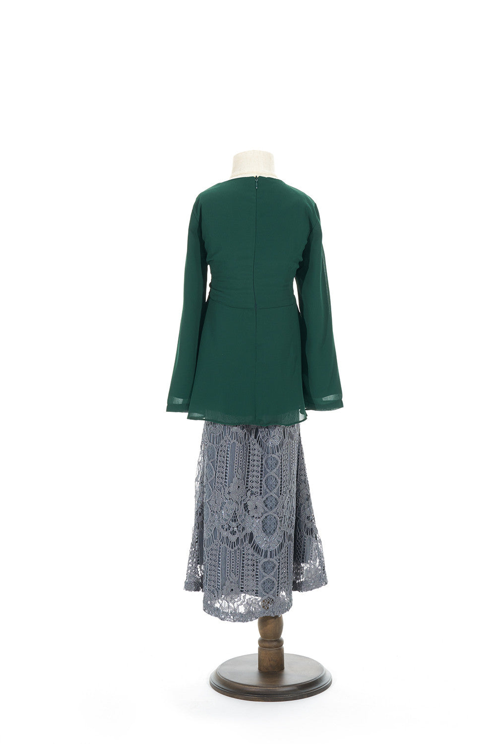 Petite Peplum Top with Venetian Lace Skirt in Emerald Green