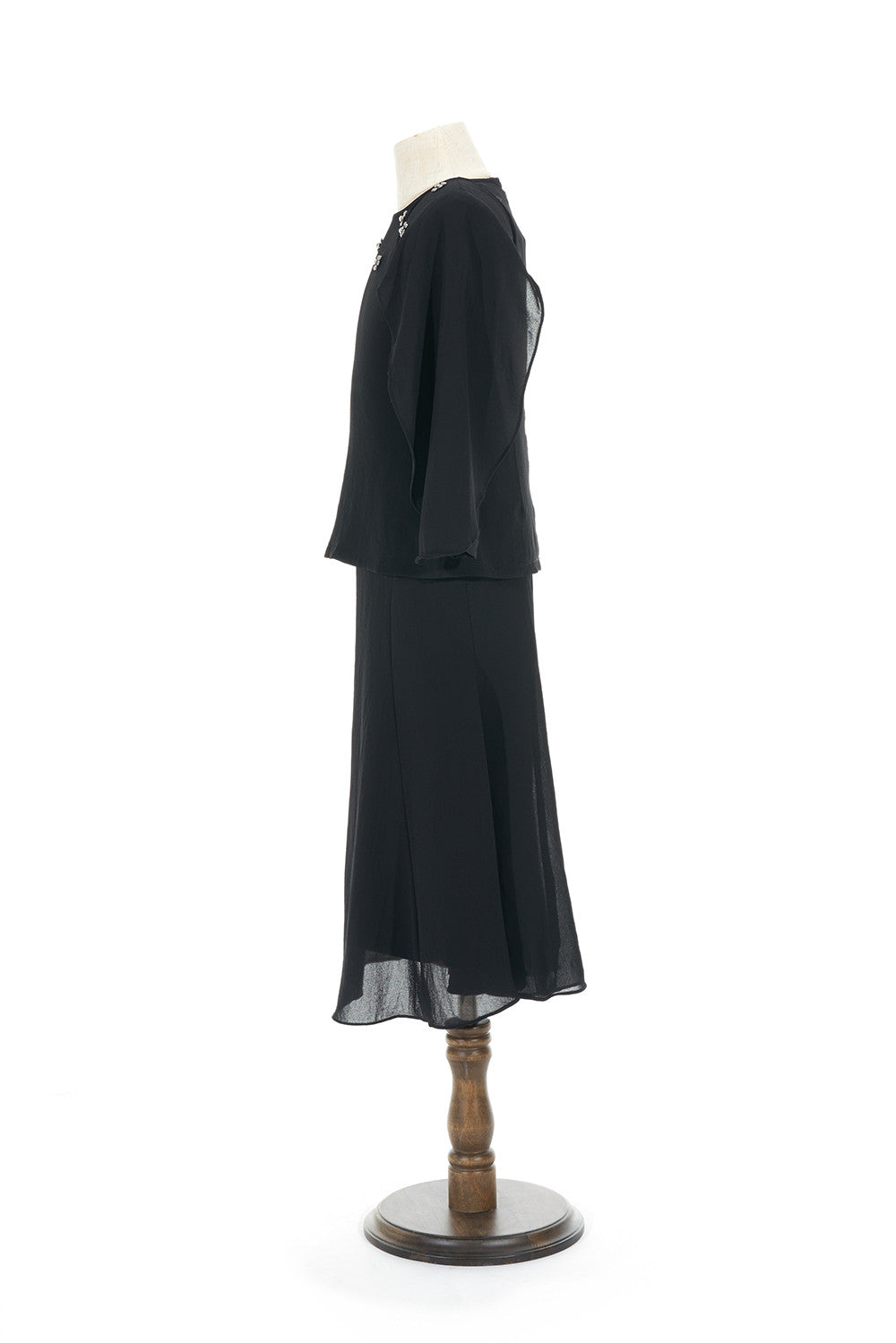 Petite Batwing Chiffon Top with Skirt in Black