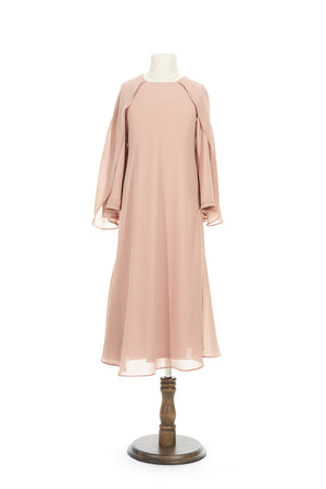 Petite Chiffon Dress with Cape in Nude