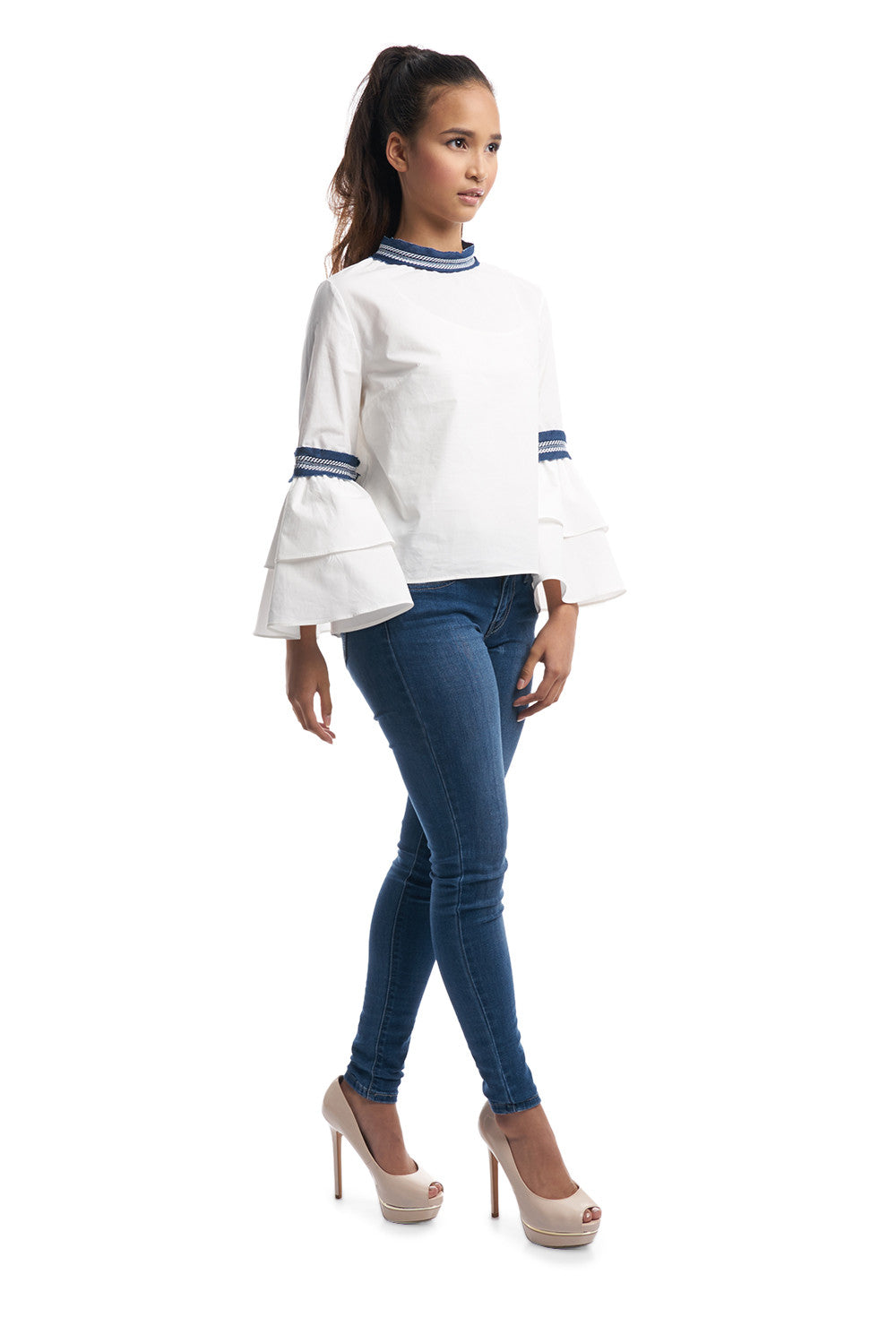 Bell Sleeves Top with Denim Trimmings (White)