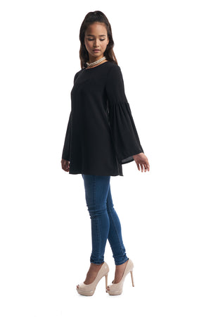 Gathered Flare Sleeves Top (Black)