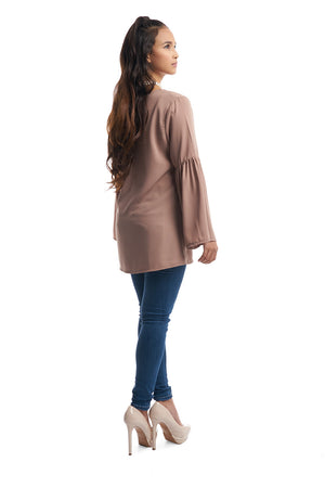 Bell Sleeve Top (Brown)