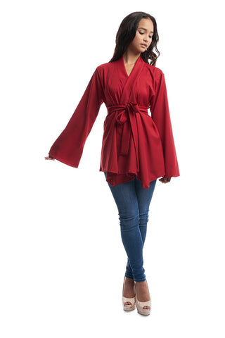 Kimono Top with Waist Tie (Red)
