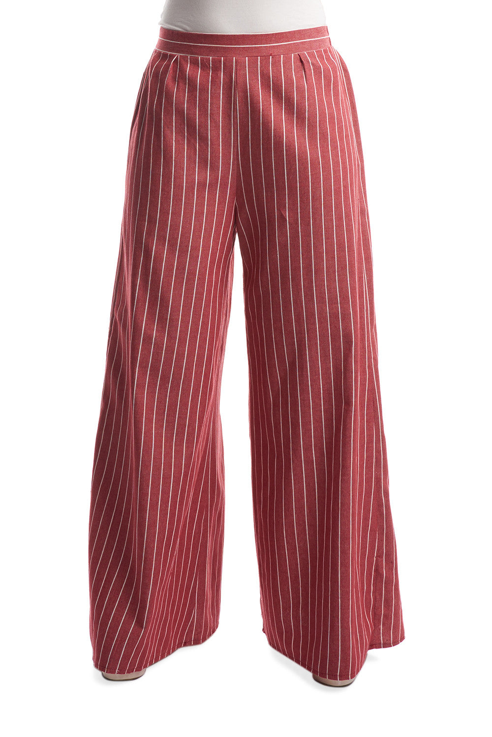 Striped Palazzo Pants in Red