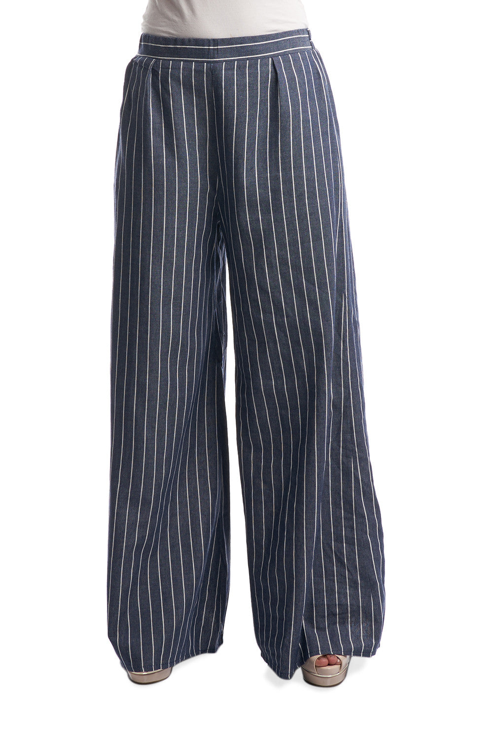 Striped Palazzo Pants in Blue