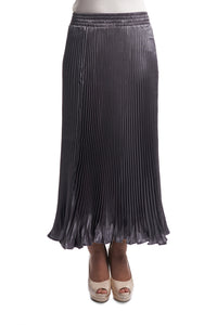 Pleated Silk Skirt with Ruffles (Grey)