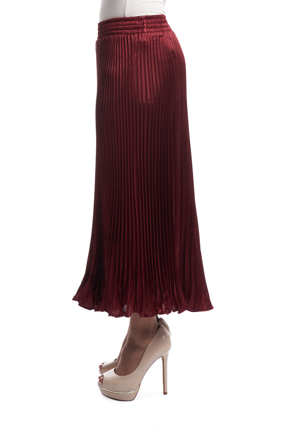Pleated Silk Skirt with Ruffles (Red)