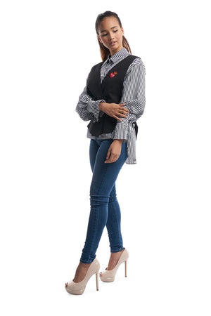 Stripe Shirt with Vest (Black/White)