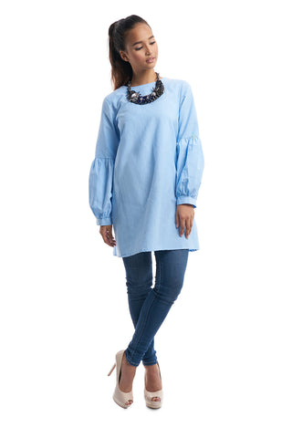 Long Babydoll Top (Light Blue)