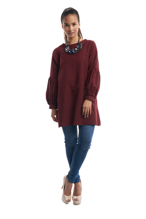 Long Babydoll Top (Maroon)