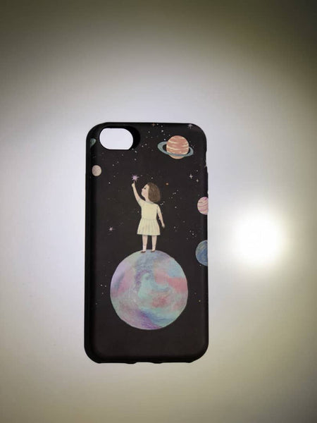 Girl on Moon Phone Case - iPhone