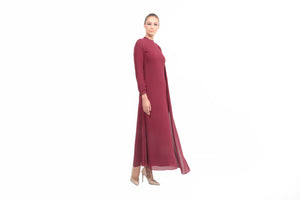Chiffon Dress with Drape in Red