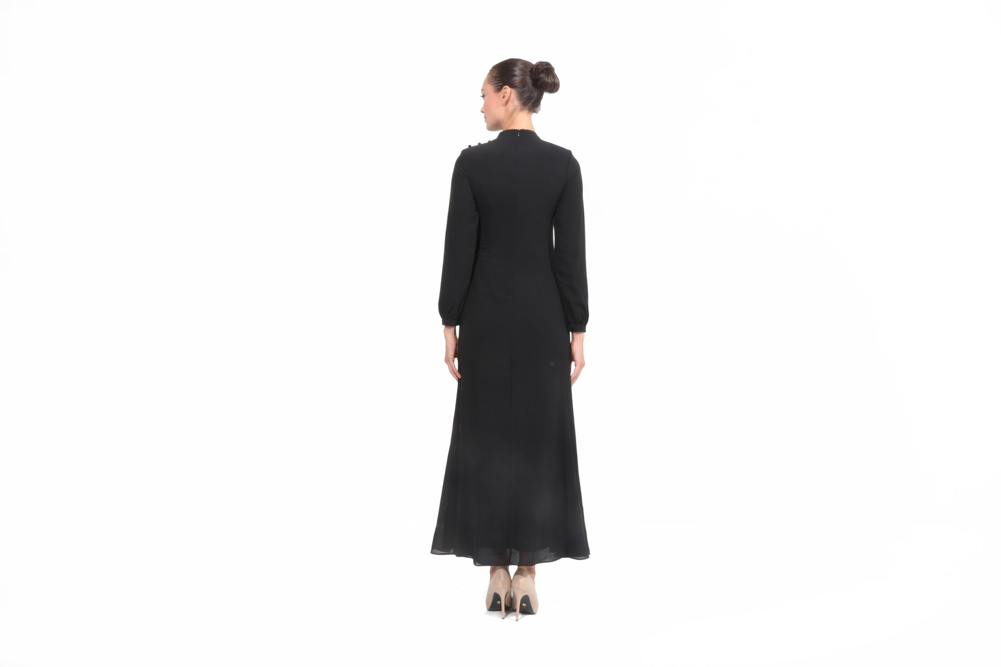 Chiffon Dress with Drape in Black