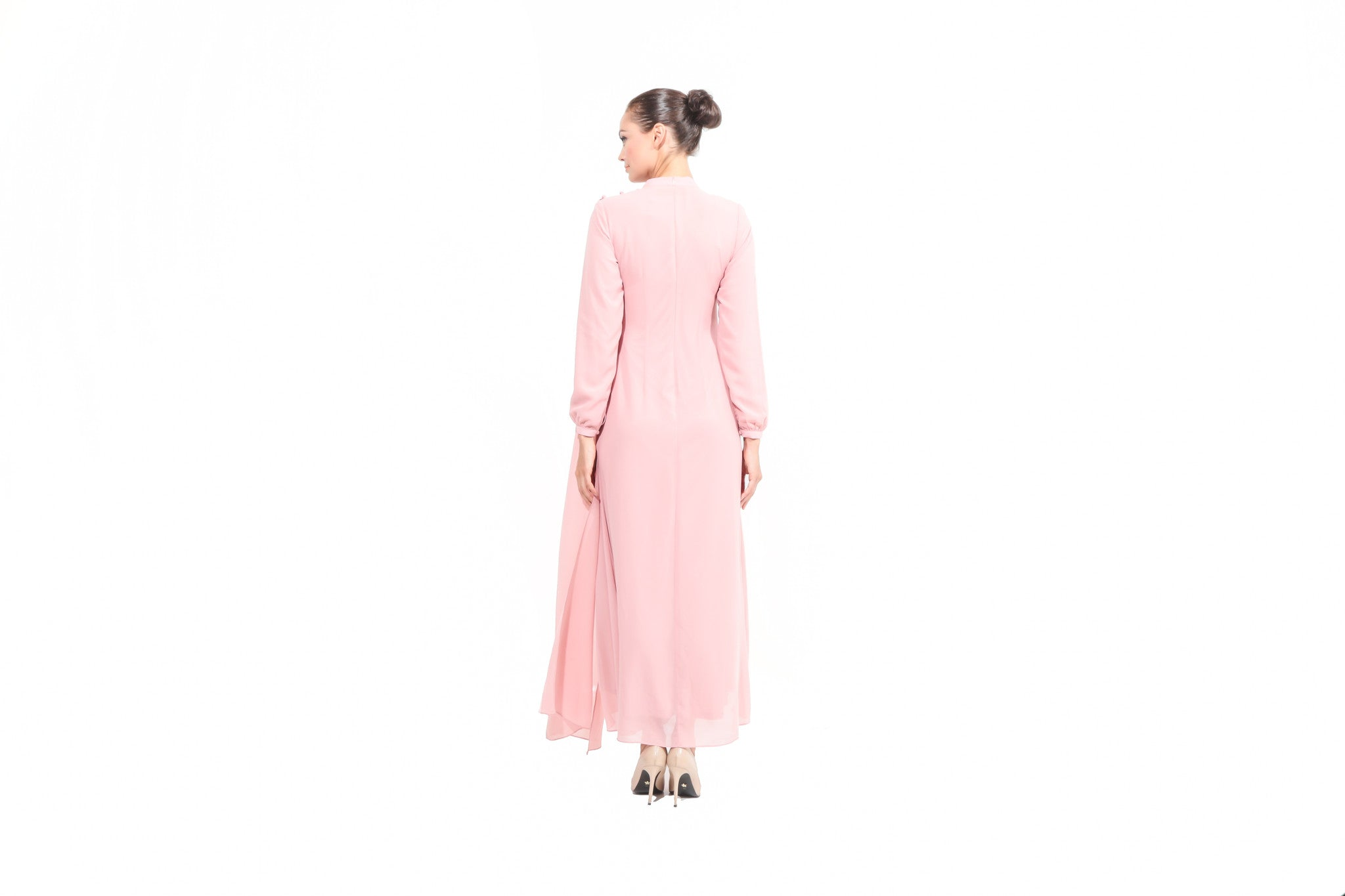 Chiffon Dress with Drape in Dusty Pink