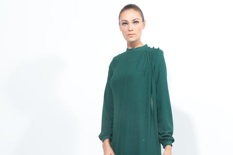 Chiffon Dress with Drape in Emerald Green