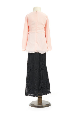 Petite Peplum Top with Venetian Lace Skirt in Pastel Pink