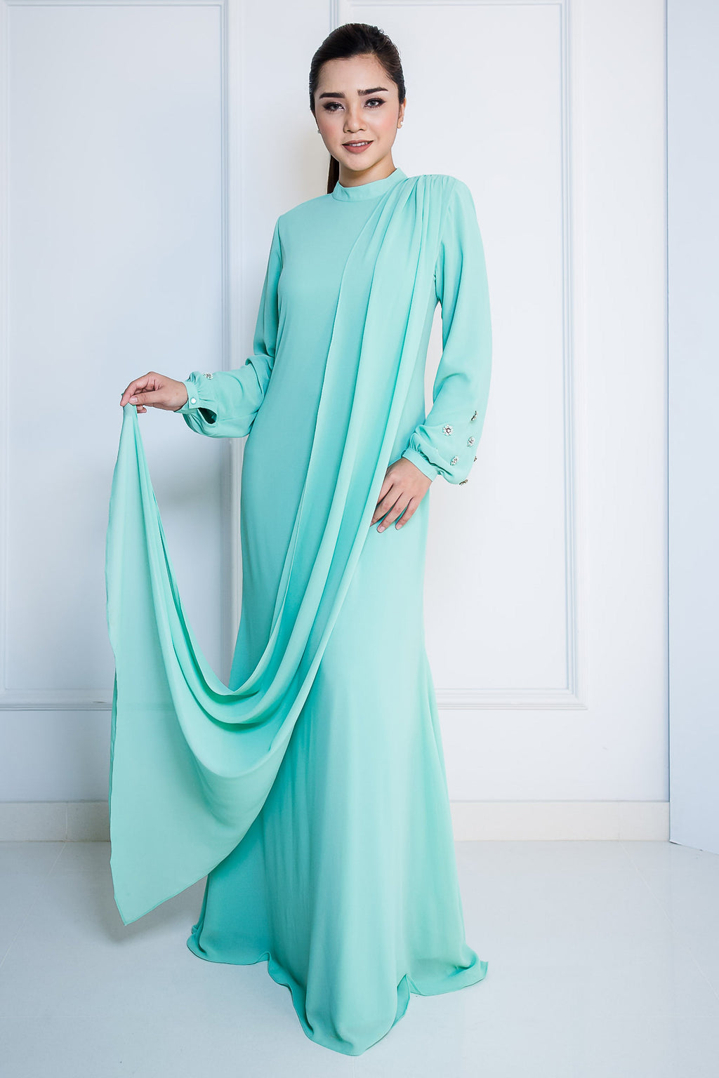 Chiffon Long Dress with Drape in Mint