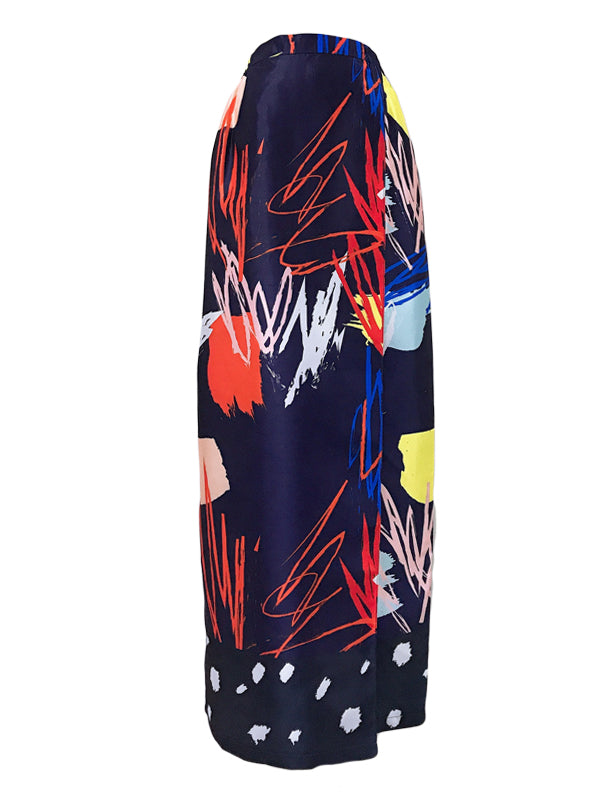 Scribble Print Skirt in Dark Blue