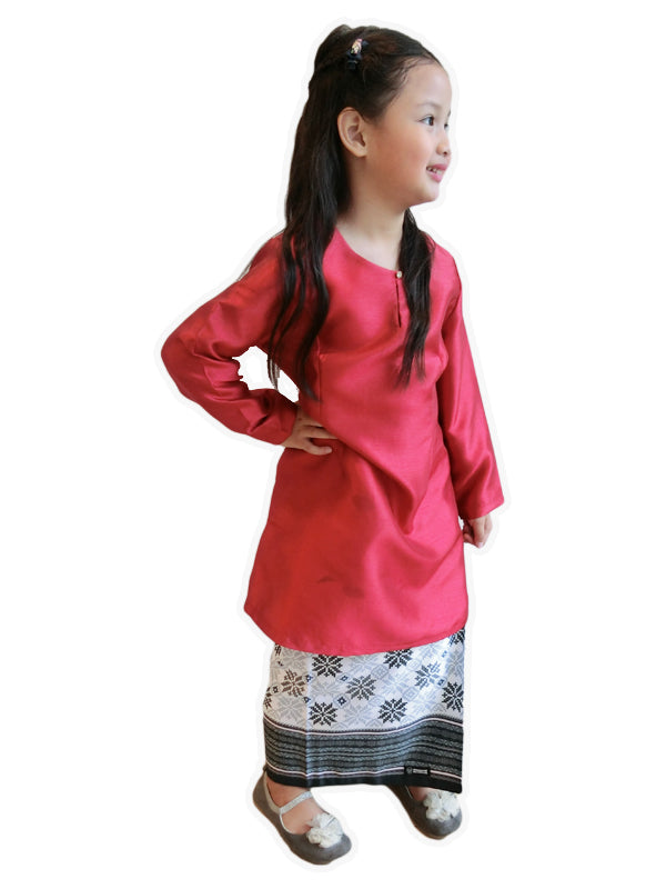 Petite Songket Skirt in Black & White