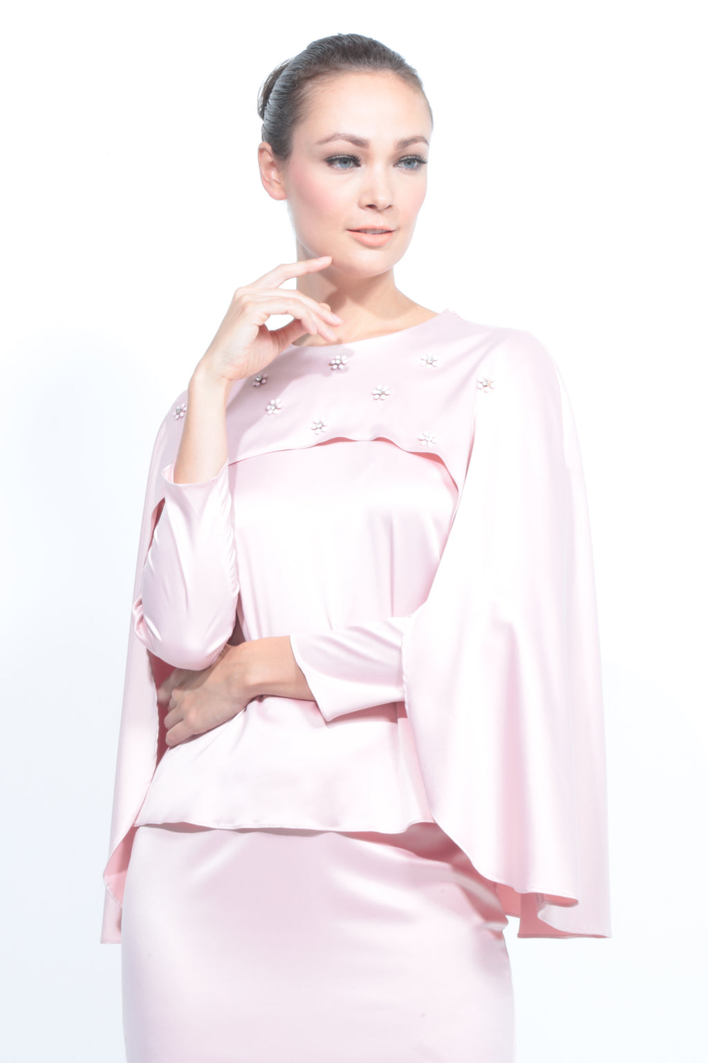 Satin Cape Kurung in Baby Pink