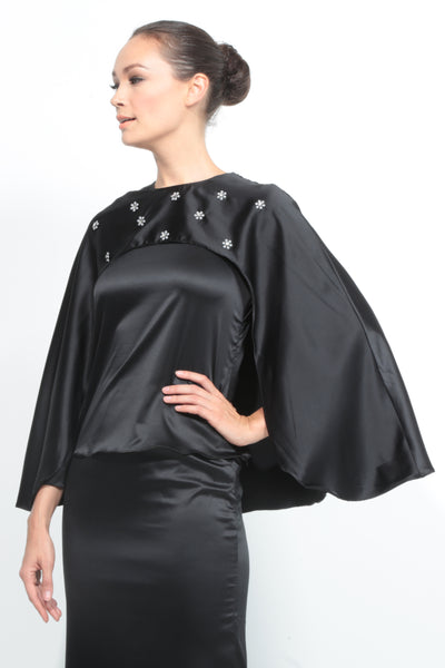 Satin Cape Kurung in Black