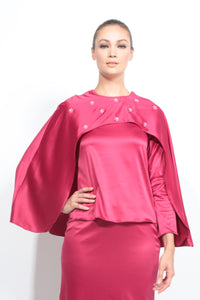 Satin Cape Kurung in Fuchsia