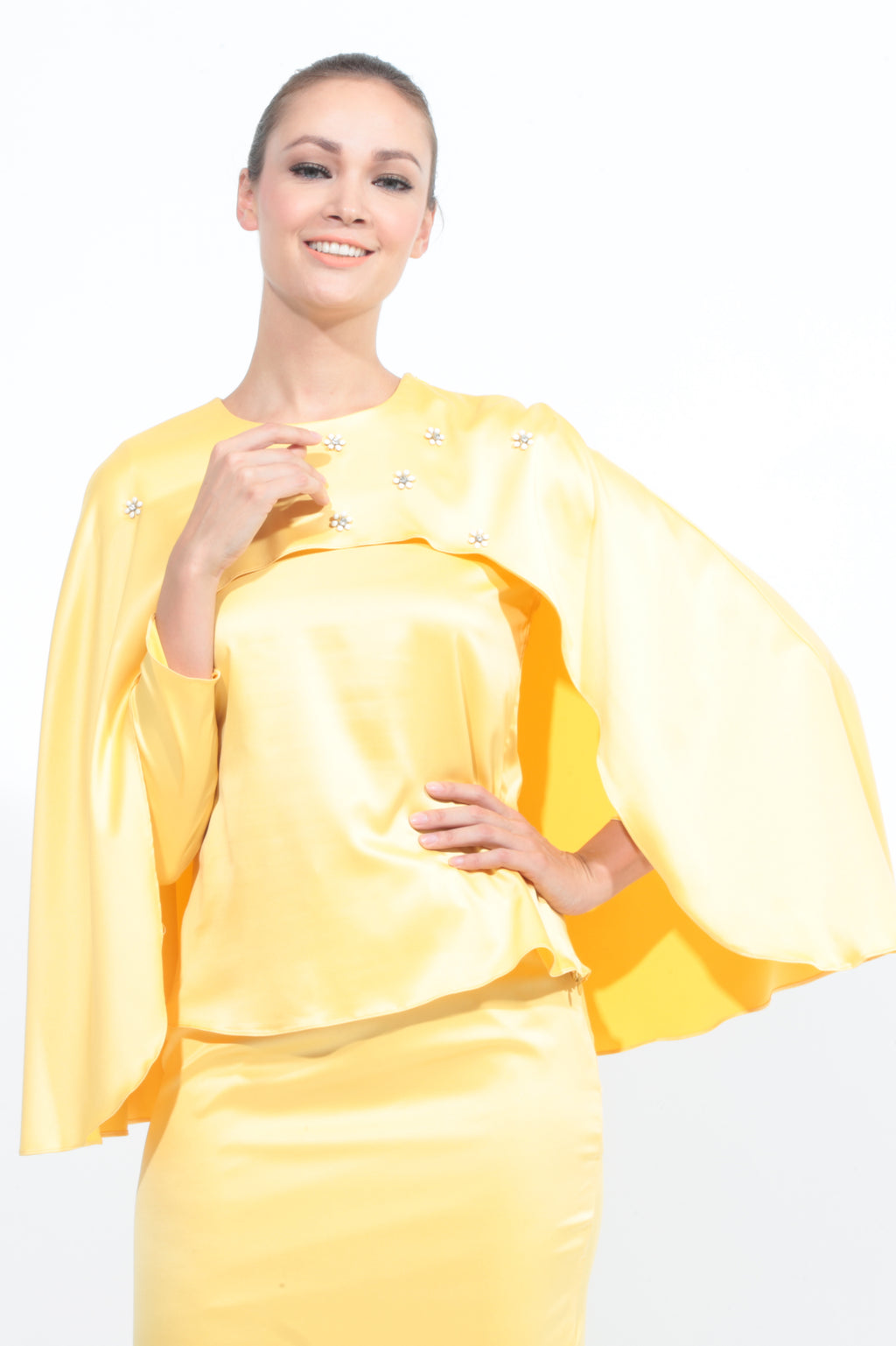 Satin Cape Kurung in Yellow