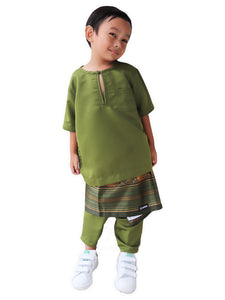 Traditional Boys Samping in Olive Green