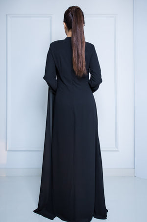 Chiffon Long Dress with Drape in Black