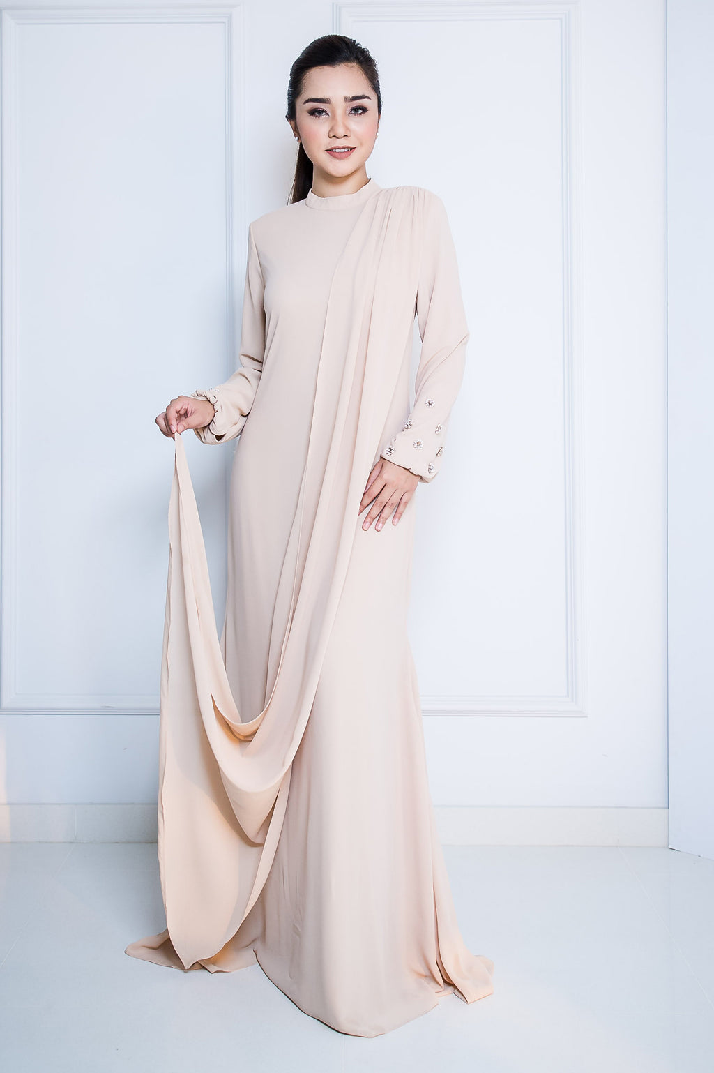 Chiffon Long Dress with Drape in Nude
