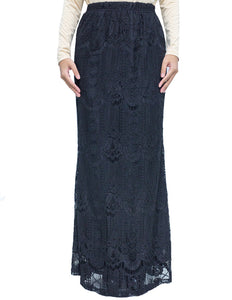 Venetian Lace Skirt in Black