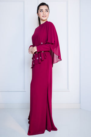 Chiffon Dress with Midi Drape in Maroon