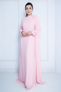 Chiffon Long Dress with Drape in Pink
