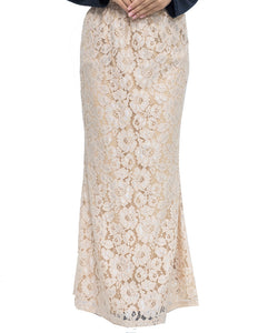 Floral Lace Skirt in Beige