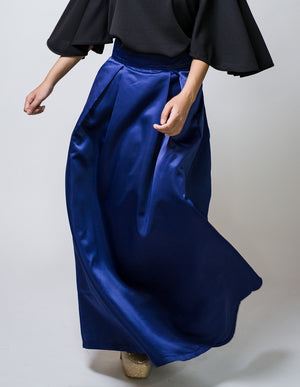 Box Pleated Ballgown Skirt in Blue