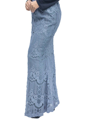 Venetian Lace Skirt in Dusty Blue