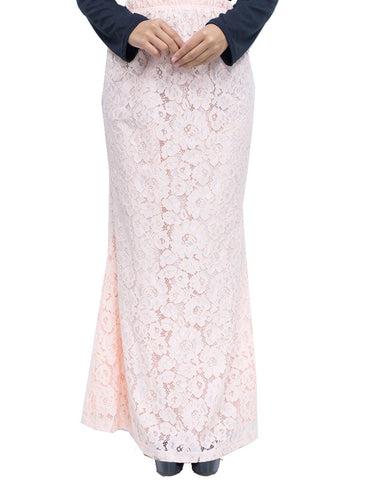Floral Lace Skirt in Pastel Pink