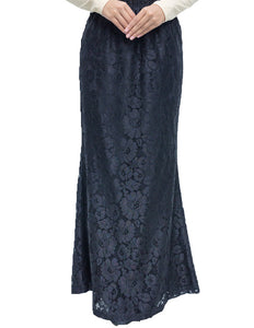 Floral Lace Skirt in Black