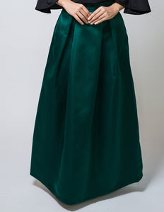 Box Pleated Ballgown Skirt in Green