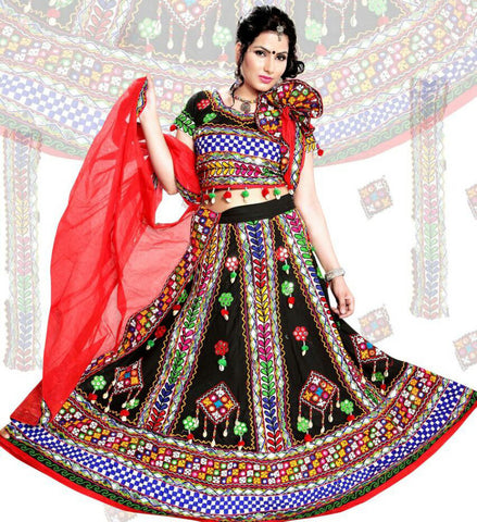 ec863e092 Black and Red Chaniya Choli for Navratri from Silver Moon Ethnic Wear