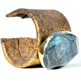 Distressed gold leather cuff gold edged blue agate