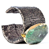 Distressed leather cuff with gold edged green agate