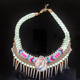 Aztec braided necklace with gold edged agate.