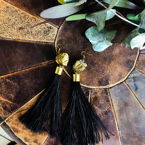 Gold nugget with black tassel earrings
