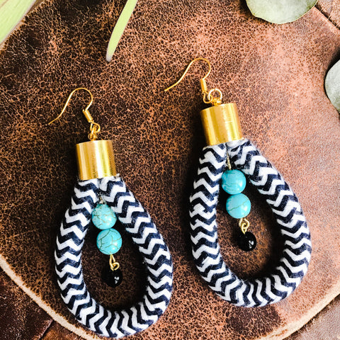 Rope earrings with turquoise and Czech glass