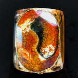 Gold plated cuff with gold edged natural agate