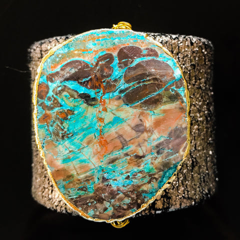 Distressed leather cuff gold edged imperial jasper