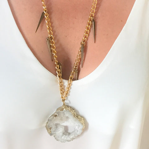 White druzy agate statement necklace